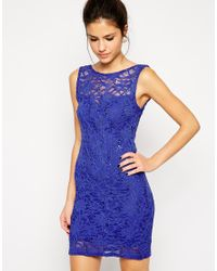 Lipsy | Blue Sequin Lace Bodycon Dress | Lyst