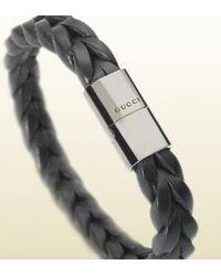 Gucci - Black Woven Leather Bracelet for Men - Lyst