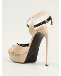Saint Laurent - Natural 'Bianca' Platform Sandals - Lyst