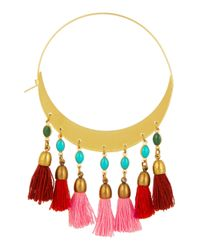 Isabel Marant - Red Gold-Plated Beaded Hoop Earrings - Lyst