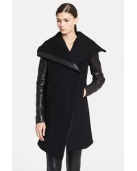 Helmut Lang - Black 'inclusion Willow' Leather Trim Wool Blend Coat - Lyst