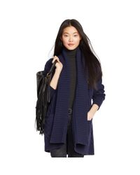 Polo Ralph Lauren - Blue Cabled Wool-cashmere Cardigan - Lyst