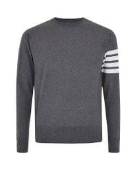 Thom Browne | Gray Arm Stripe Merino Sweater for Men | Lyst