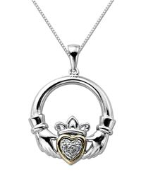Lord & Taylor | Metallic Diamond Accented Claddagh Pendant In Sterling Silver With 14k Yellow Gold | Lyst