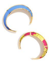 Sarah Magid | Metallic Fauvist Stack Cuff Bracelet, Fushia And Periwinkle | Lyst