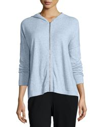 Eileen Fisher | Blue Hooded Cotton-cashmere Shaped Cardigan | Lyst