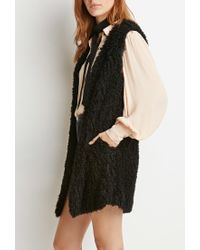 Forever 21 | Black Contemporary Shaggy Knit Longline Vest | Lyst