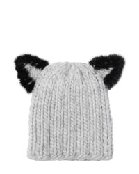 Eugenia Kim - Black Felix Fur-trim Cat-ear Skull Cap - Lyst