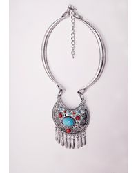 Missguided | Metallic Engraved Festival Stone Necklace Silver | Lyst