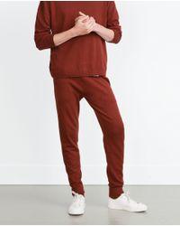 Zara | Brown Soft Melange Trousers for Men | Lyst