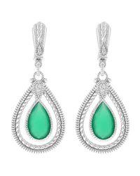 Judith Ripka - Green Chalcedony & White Sapphire Double Pear-Shaped Sterling Silver Marina Earrings - Lyst