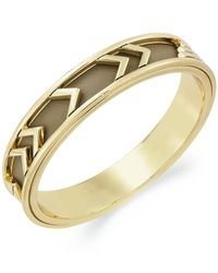 House of Harlow 1960 - Metallic 14k Gold-plated Khaki Leather Tribal Bangle Bracelet - Lyst