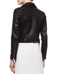 Andrew Marc - Black Tattered Croc-print Lambskin Leather Moto Jacket - Lyst