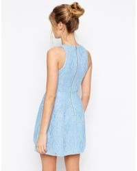 ASOS - Blue Bonded Lace High Neck Lantern Mini Dress - Lyst