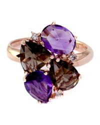 Effy - Multicolor Lavender Rose 14 Kt. Rose Gold Amethyst And Smoky Quartz Diamond Ring - Lyst