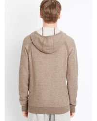 Vince - Brown Plaited Cashmere Zip-up Hoodie for Men - Lyst