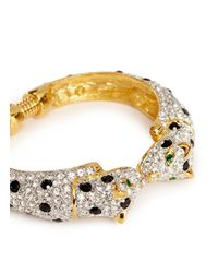 Kenneth Jay Lane | Metallic Crystal Pavé Strass Cheetah Bangle | Lyst