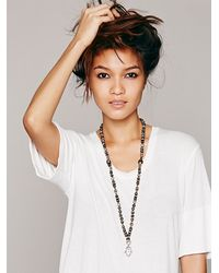 Free People - Black Tibetan Fiesta Hamsa Necklace - Lyst
