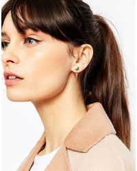 ASOS - Metallic Gold Plated Sterling Silver Spike Front And Back Earrings - Lyst