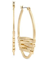 Kenneth Cole | Metallic Gold-tone Wrapped Oval Hoop Earrings | Lyst
