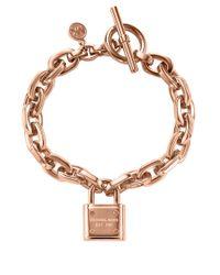 Michael Kors | Metallic Rose Goldtone Chain Link Padlock Bracelet | Lyst