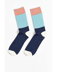 Urban Outfitters | Blue Lightweight Block Pleated Rib Sock for Men | Lyst