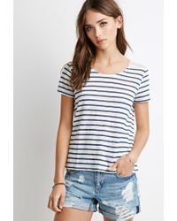 Forever 21 - Natural Lace-paneled Stripe Tee - Lyst