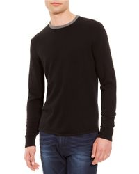 Kenneth Cole | Black Solid Tipped Sweater for Men | Lyst