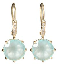 Suzanne Kalan | Blue Gold Chalcedony and Diamond Round Earrings | Lyst