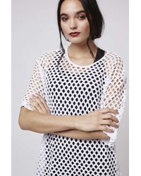 TOPSHOP - White Mesh Oversized Tunic Dress By Escapology - Lyst