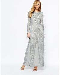 Frock and Frill | Metallic Long Sleeve All Over Embellished Maxi Dress | Lyst