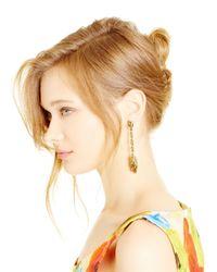 Oscar de la Renta - Metallic Light Gold Tulip Swarovski Crystal Pave Earrings - Lyst