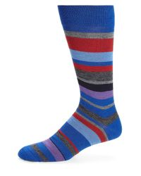 Saks Fifth Avenue | Blue Merino Wool-blend Wide Striped Socks for Men | Lyst