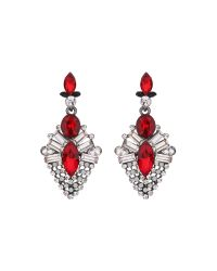 Mikey | Red Drop Crystal Hanging Earring | Lyst