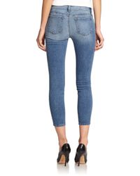 J Brand - Blue Mid-rise Cropped Skinny Jeans - Lyst