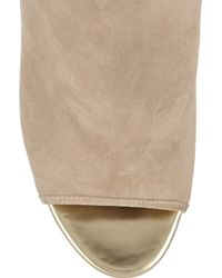 Jimmy Choo | Natural Froze Suede Peep-Toe Ankle Boots | Lyst