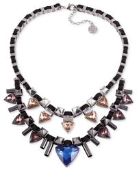 French Connection | Multicolor Silver-Tone Stone And Stud Two-Row Suede Necklace | Lyst