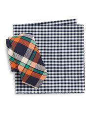 Original Penguin - Orange Luther Plaid Tie & Gingham Pocket Square Set for Men - Lyst
