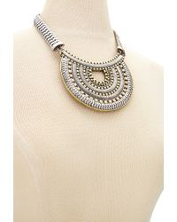 Forever 21 - Metallic Rhinestone Medallion Statement Necklace - Lyst