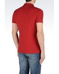 Armani Jeans - Red Polo Shirt In Logo Patterned Cotton Pique for Men - Lyst