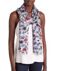 Bindya - Purple Painted Garden Cashmere & Silk Scarf - Lyst