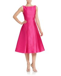 Adrianna Papell | Pink Tea-length Fit-and-flare Dress | Lyst