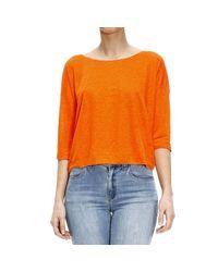 Cruciani - Orange Sweater Knit 3/4 Sleeve V Linen - Lyst