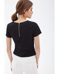 Forever 21 - Black Textured Knit Boxy Top - Lyst