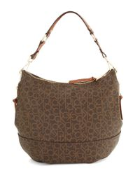 Calvin Klein | Brown Hudson Monogram Hobo Bag | Lyst