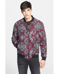Versace Jeans - Purple Baroque Print Bomber Jacket for Men - Lyst