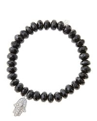 Sydney Evan | 8Mm Faceted Black Spinel Beaded Bracelet With 14K White Gold/Diamond Medium Hamsa Charm (Made To Order) | Lyst