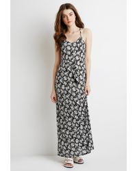 Forever 21 - Black Rose Print Drawstring Maxi Dress - Lyst
