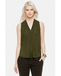 Vince Camuto | Green Sleeveless Pleated V-neck Blouse | Lyst