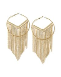 Steve Madden | Metallic Goldtone Chain Fringe Large Hoop Earrings | Lyst